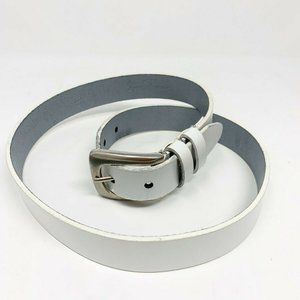 Genuine Leather white silver buckle belt India